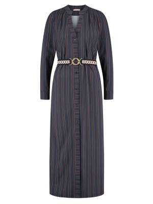 Studio Anneloes 04970 Shelby pinstripe LS dress 6985 darkblue/cognac